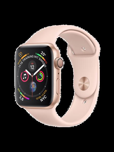 Apple Watch Aluminiumgehäuse, Gold, mit Sportarmband, Sandrosa