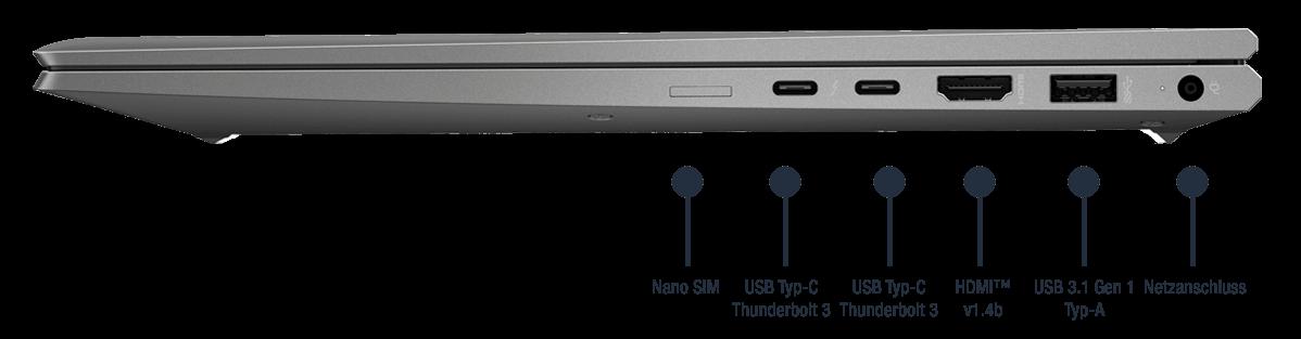HP ZBook Firefly 15 G7 mobile Workstation Anschlüsse