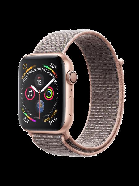 Apple Watch Aluminiumgehäuse, Gold, mit Loop Armband, Sandrosa