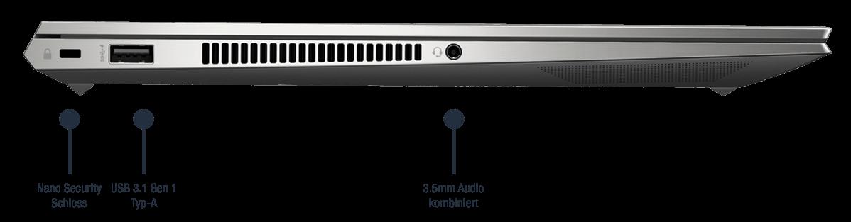 HP ZBook Studio G7 mobile Workstation Anschlüsse