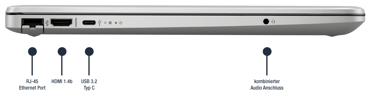 HP 250 G8 27J92EA Anschluesse links