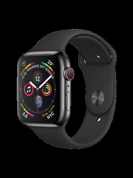 Apple Watch Edelstahlgehäuse, Space Schwarz, mit Sportarmband, Schwarz