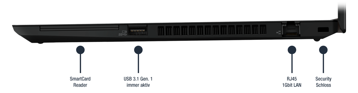 Lenovo ThinkPad T490 Business Notebook Anschlüsse