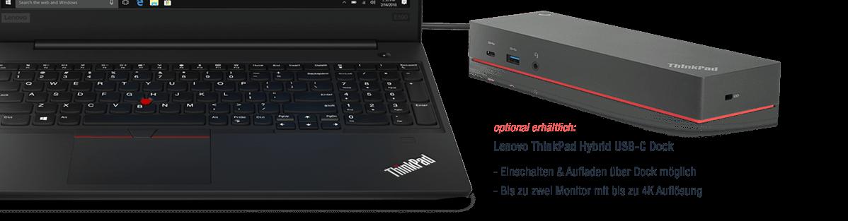 Docking Station fuer das Lenovo ThinkPad E590 zwei Monitore anschliessen