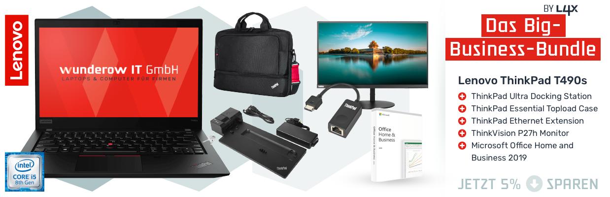 Lenovo ThinkPad T490s Bundle mit Monitor und Docking Station